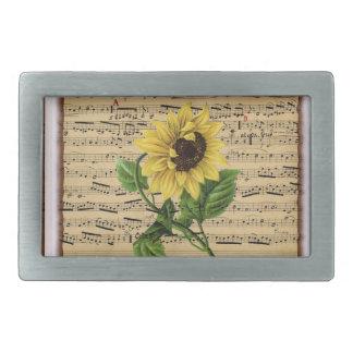 Pretty Sunflower On Vintage Sheet Music Rectangular Belt Buckles