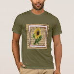 Pretty Sunflower On Vintage Sheet Music T-Shirt