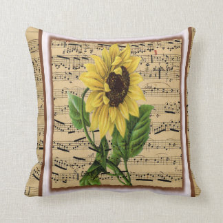 Pretty Sunflower On Vintage Sheet Music Throw Pillow