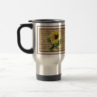 Pretty Sunflower On Vintage Sheet Music Travel Mug