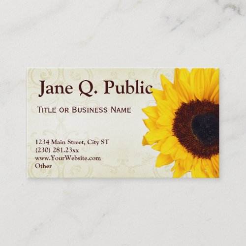 Pretty Sunflower Swirls Business Card Templates