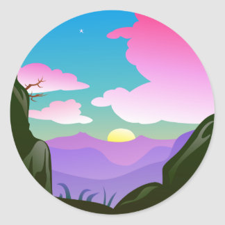 Pretty sunrise scene classic round sticker