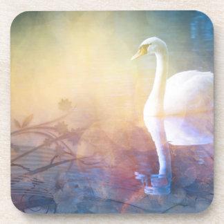 Pretty Swan Reflection Lake Coasters
