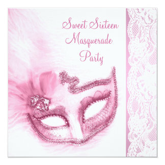 Pretty Sweet Sixteen Pink Masquerade Party Card