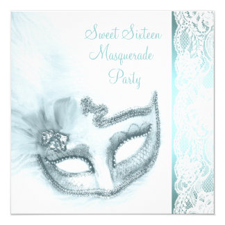 Pretty Sweet Sixteen Teal Blue Masquerade Party Card