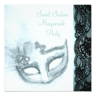 Pretty Sweet Sixteen Teal Blue Masquerade Party Personalized Invitations