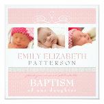 Pretty Swirl Photo Collage Baptism Invitation