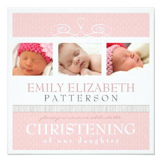 Pretty Swirl Photo Collage Christening Invitation