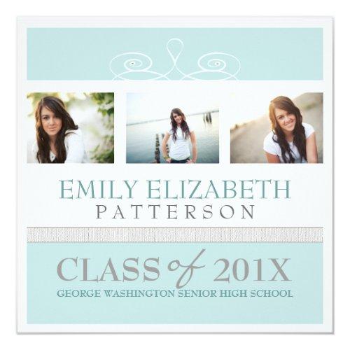 """Pretty Swirl Photo Collage Graduation Invitation 5.25"""" Square Invitation Card"""