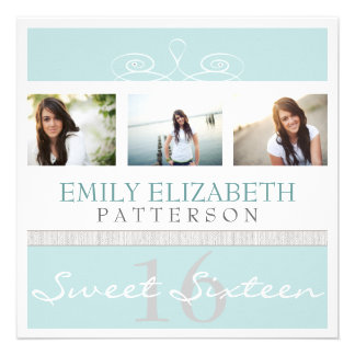 Pretty Swirl Photo Collage Sweet 16 Invitation