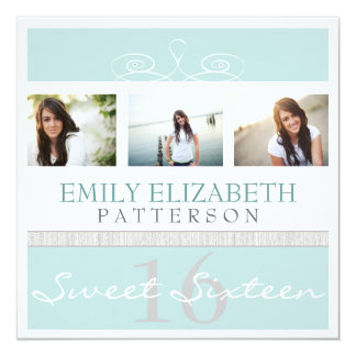 Pretty Swirl Photo Collage Sweet 16 Invitation
