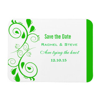Pretty Swirls Save the Date  Magnet, Green Magnet