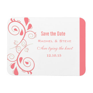 Pretty Swirls Save the Date Magnet, Peach Magnet