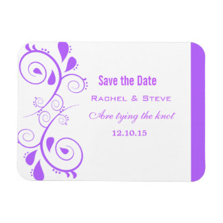 Pretty Swirls Save the Date  Magnet, Purple Magnet
