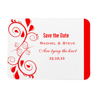 Pretty Swirls Save the Date  Magnet, Red Magnet