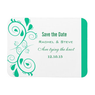 Pretty Swirls Save the Date  Magnet, Turquoise Magnet