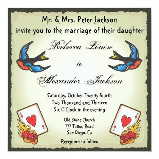 Pretty Tattoo Wedding Invitation Vegas Style