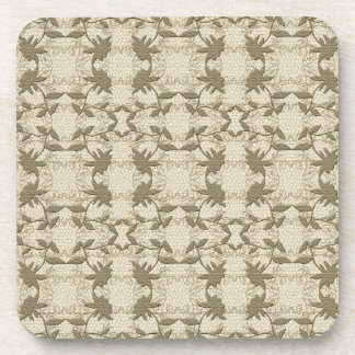 Pretty Taupe Floral Lace Pattern Coasters