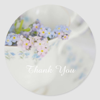 Pretty Tea Cup and Forget-me-nots Classic Round Sticker