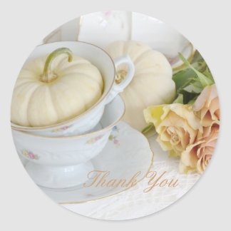 Pretty tea cups and roses thank you stickers