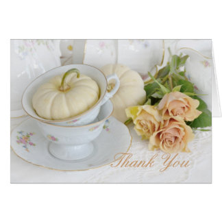 Pretty Tea Cups, Roses and Gourds Thank You Card