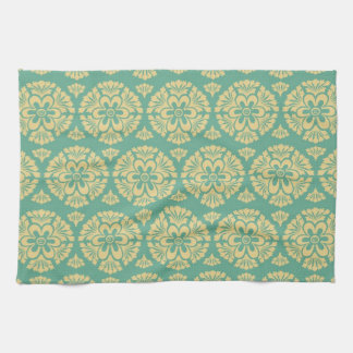 Pretty Teal and Cream Floral Damask Hand Towels