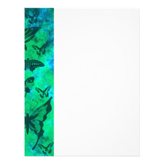 Pretty Teal and Green Butterflies Customized Letterhead