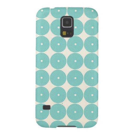 Pretty Teal Aqua Turquoise Blue Circles Disks Galaxy S5 Cover