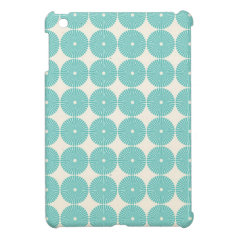 Pretty Teal Aqua Turquoise Blue Circles Disks iPad Mini Cases