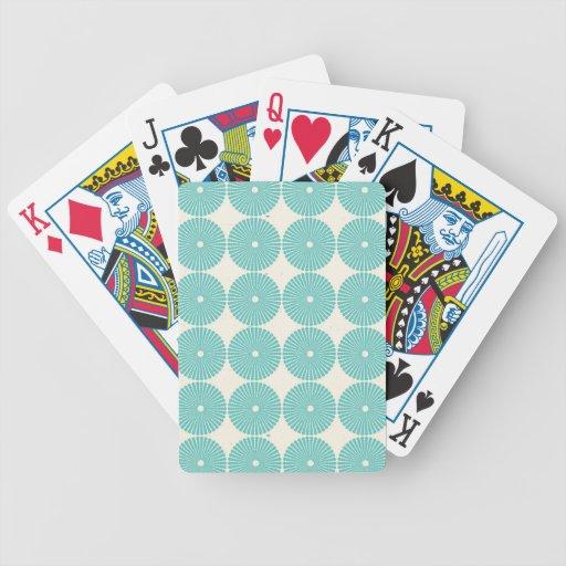 Pretty Teal Aqua Turquoise Blue Circles Disks Poker Cards