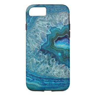 Pretty Teal Aqua Turquoise Geode Crystals Pattern iPhone 7 Case