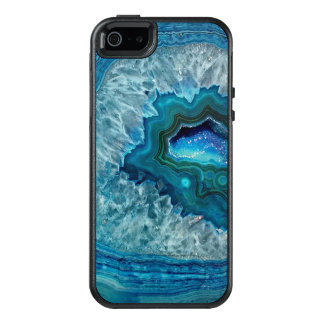Pretty Teal Aqua Turquoise Geode Crystals Pattern OtterBox iPhone 5/5s/SE Case