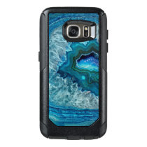 Pretty Teal Aqua Turquoise Geode Crystals Pattern OtterBox Samsung Galaxy S7 Case