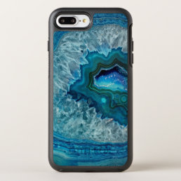 Pretty Teal Aqua Turquoise Geode Marble Pattern OtterBox Symmetry iPhone 8 Plus/7 Plus Case