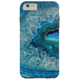 Pretty Teal Aqua Turquoise Geode Marble Pattern Tough iPhone 6 Plus Case