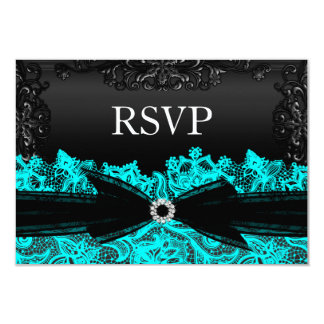 Pretty Teal & Black Lace RSVP Card