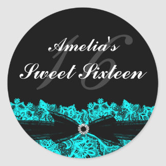 Pretty Teal & Black Lace Sweet 16 Sticker