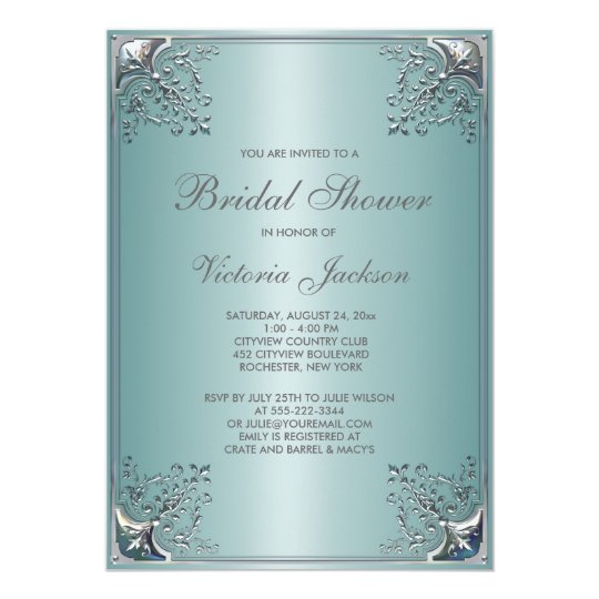 Pretty Teal Blue Bridal Shower Card