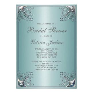 Pretty Teal Blue Bridal Shower Invitation