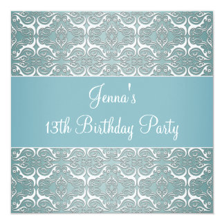 Pretty Teal Blue Damask 13th Birthday Party Card