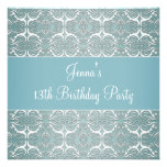 Pretty Teal Blue Damask 13th Birthday Party Invites