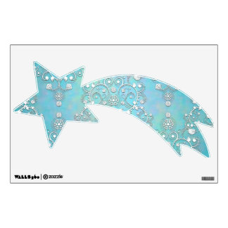 Pretty Teal Blue Damask Shooting Star Decal