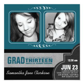 Pretty Teal Blue Double Photo Graduation 5.25x5.25 Square Paper Invitation Card