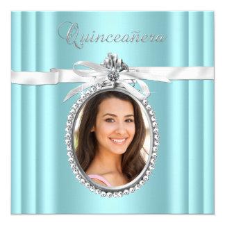 Pretty Teal Blue Photo Quinceanera Card