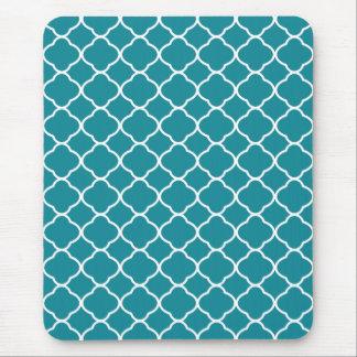 Pretty Teal Blue Quatrefoil Pattern Mouse Pad