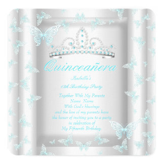 Pretty Teal Blue Quinceanera Party Tiara Butterfly Card