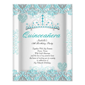 Pretty Teal Blue Quinceanera Party Tiara Hearts Card
