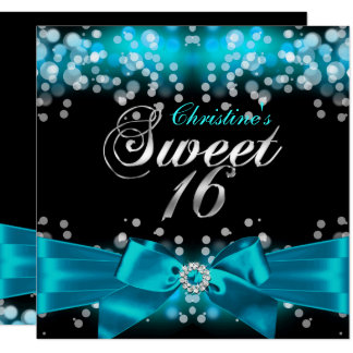 Pretty Teal Bow & Sparkle Sweet Sixteen Invitation
