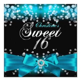 Pretty Teal Bow & Sparkle Sweet Sixteen Invitation