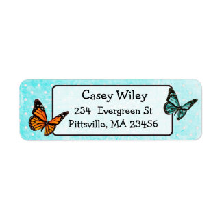 Pretty Teal Butterfly Return Address Label